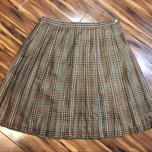 Lauren Ralph Lauren Houndstooth Plaid Silk Skirt